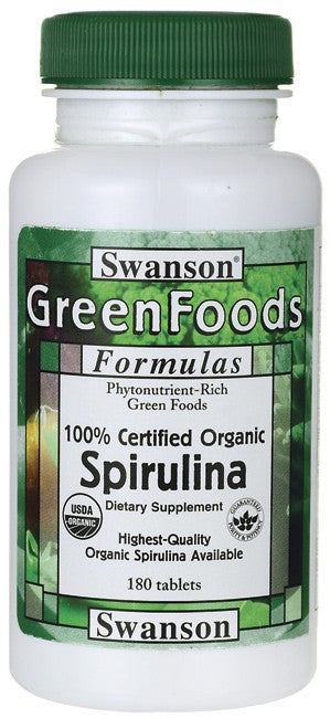 Swanson GreenFoods Formulas Certified Organic Spirulina 500mg 180 Tablets