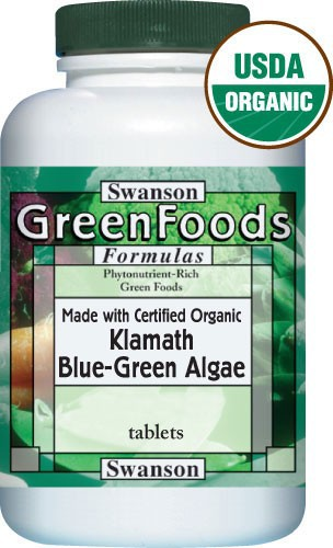 Swanson GreenFoods Formulas Certified Organic Klamath Blue-Green Algae 500mg 90 Tablets