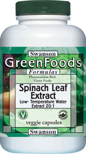 Swanson GreenFoods Formulas Spinach Leaf Extract 20:1 750mg 60 Veggie Capsules