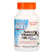 Load image into Gallery viewer, Doctor's Best, Natural Vitamin K2 MK-7 with MenaQ7, 45 mcg, 60 Veggie Caps
