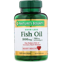 Load image into Gallery viewer, Nature's Bounty, Odorless Fish Oil, 1,000 mg, 120 Coated Softgels
