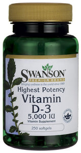 Swanson Premium Highest Potency Vitamin D-3 5000 IU 250 Softgels