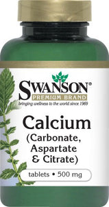 Swanson Premium Calcium (Carbonate, Aspartate & Citrate) 500mg 100 Tablets