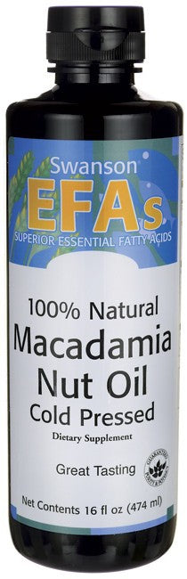 Swanson EFAs 100% Natural Macadamia Nut Oil, Cold Pressed 474ml