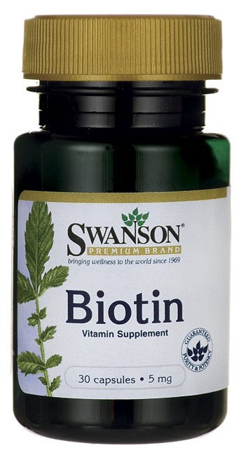 Swanson Premium Biotin 5mg 30 Capsules - Vitamin Supplement