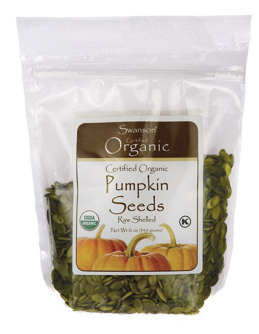 Swanson Certified Organic Pumpkin Seeds Raw, Shelled 340gm