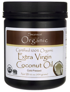 Swanson Certified 100% Organic Extra Virgin Coconut Oil 454gm