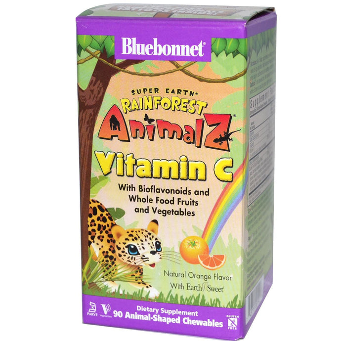 Bluebonnet, SuperEarth, Rainforest Animalz, Vitamin C, Orange , 90 Chewables
