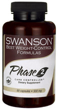 Load image into Gallery viewer, Swanson Best Weight-Control Formulas Phase 2 Carb Controller White Kidney Bean Extract 500mg 90 Capsules