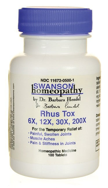 Swanson Homeopathy Rhus Tox 6X 12X 30X 200X 100 Tabs - Supplement