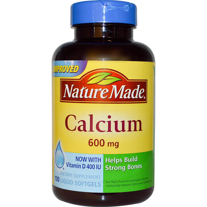 Nature Made, Calcium with Vitamin D, 400 IU/600 mg, 100 Liquid Softgels