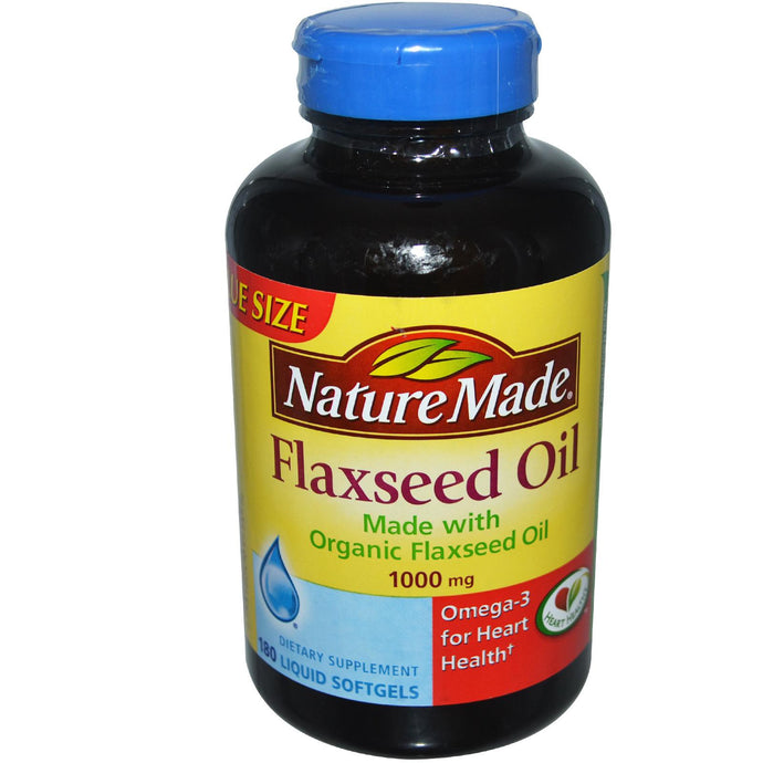 Nature Made, Flaxseed Oil, Organic, 1000 mg, 180 Liquid Softgels