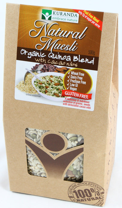 Kuranda, Natural Muesli, Organic Quinoa Blend with Cacao Nibs, 500 g