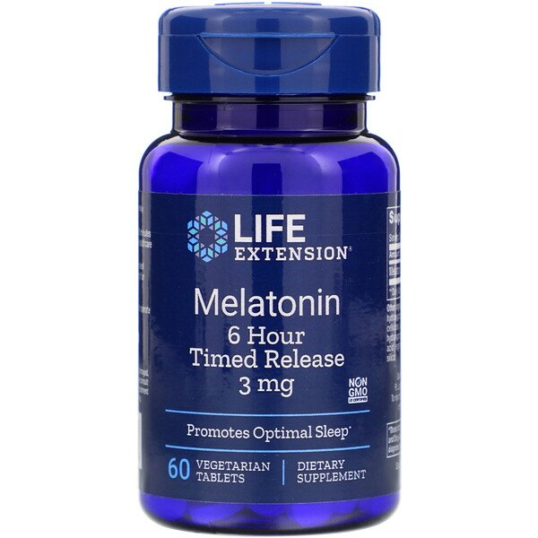 Life Extension, Melatonin, 3 mg, 60 Vegetarian Tablets