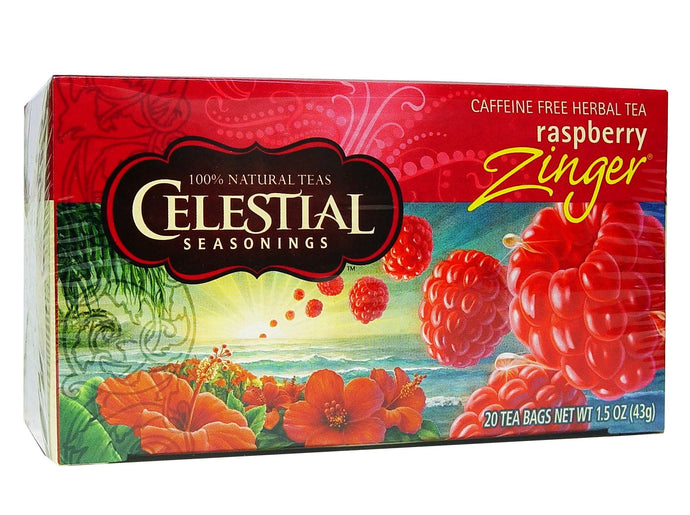 Celestial Seasonings Tea Raspberry Zinger Caffeine Free 20 Tea Bags 40g