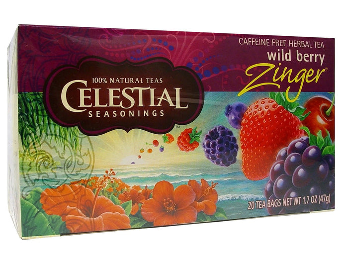 Celestial Seasonings, Tea, Wild Berry Zinger, Caffeine Free, 20 Tea Bags, 47 g