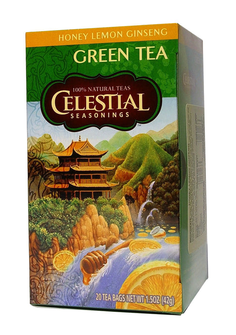 Celestial Seasonings, Green Tea, Honey Lemon Ginseng, Caffeine Free, 20 Tea Bags, 42 g