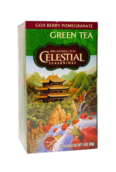 Celestial Seasonings, Green Tea, Goji Berry Pomegranate, Caffeine Free, 20 Tea Bags, 39 g
