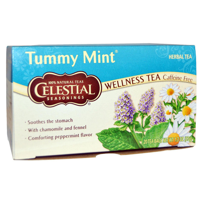 Celestial Seasonings, Wellness Tea, Tummy Mint, Caffeine Free, 20 Tea Bags, 27 g