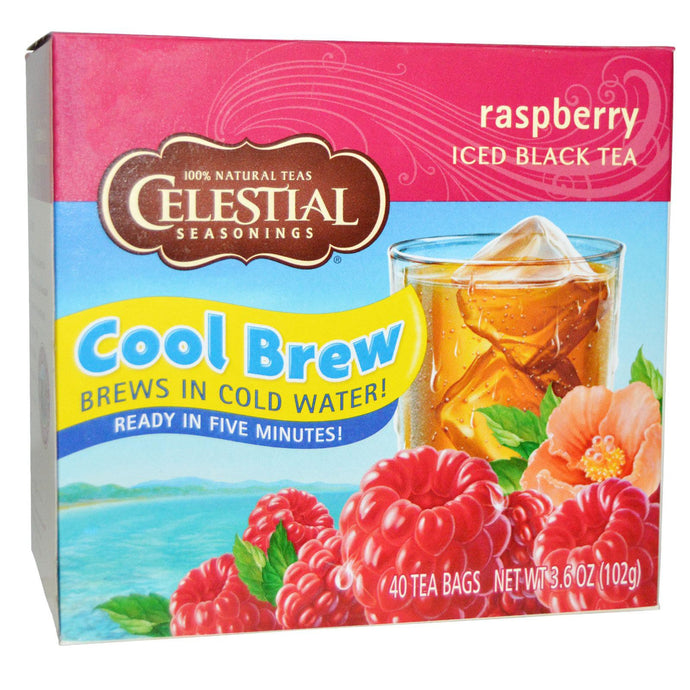 Celestial Seasonings, Cool Brew, Iced Black Tea, Raspberry, 40 Tea Bags, 102 g