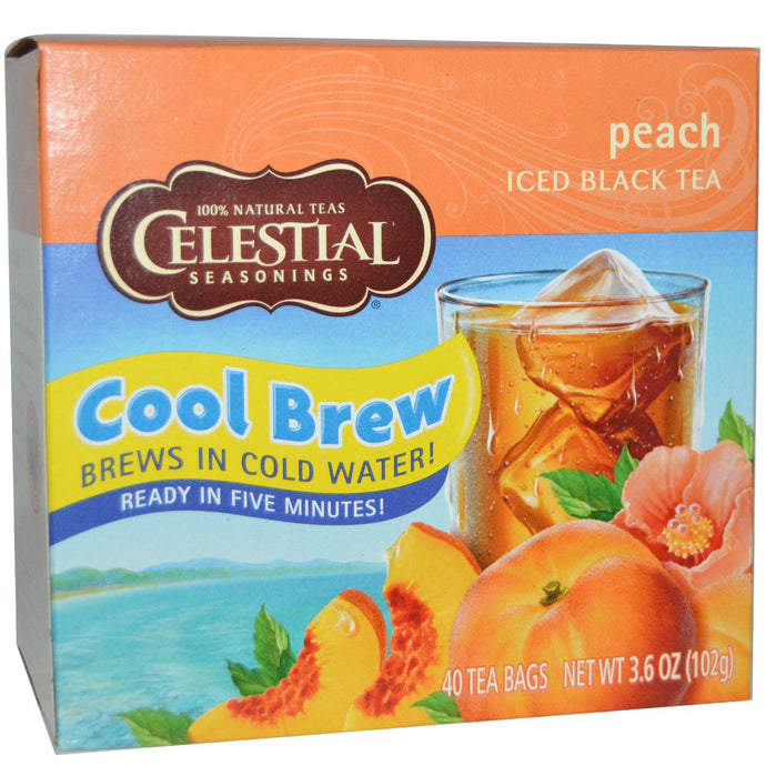 Celestial Seasonings, Cool Brew, Iced Black Tea, Peach, 40 Tea Bags, 102 g