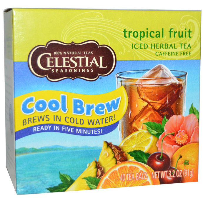Celestial Seasonings, Cool Brew, Iced Black Tea, Tropical Fruit, 40 Tea Bags, 91 g