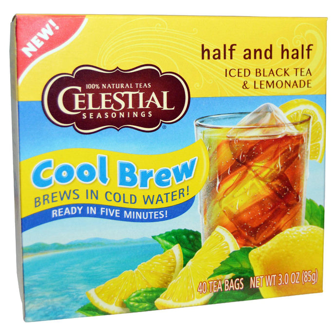 Celestial Seasonings, Half and Half, Cool Brew, Iced Black Tea & Lemonade, 40 Tea Bags, 85 g