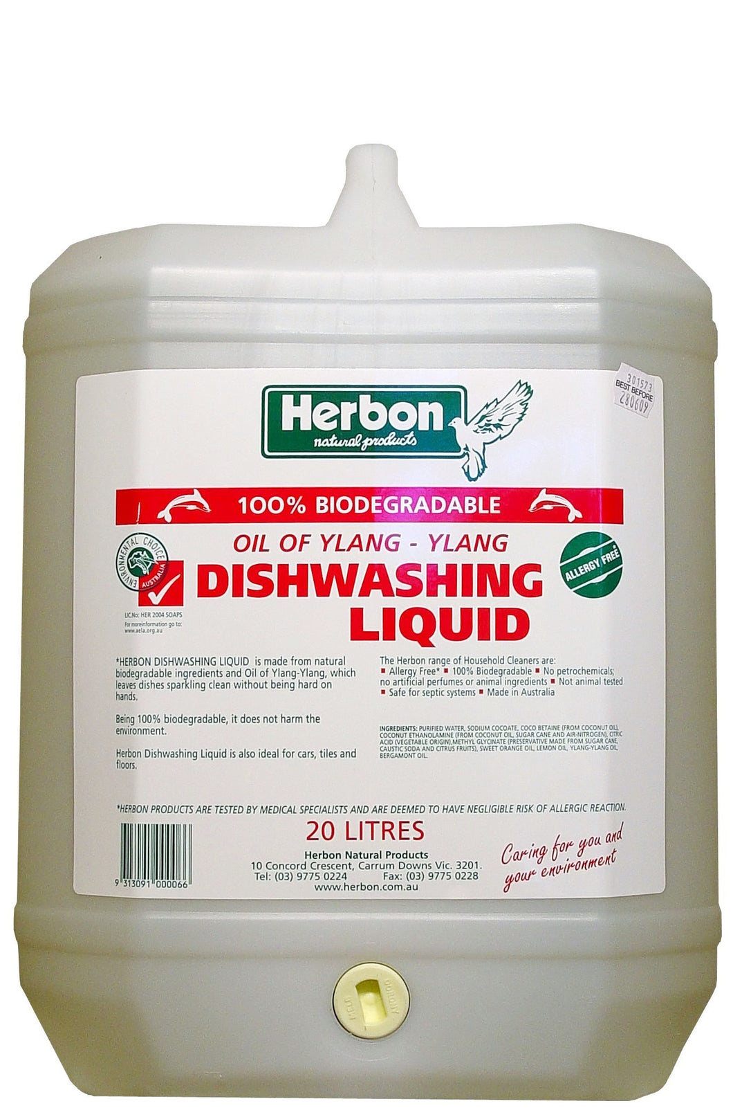 Herbon, Dishwashing Liquid, Oil of Ylang, Dishwashing Liquid, Fragrance Free, Naturally Biodegradable, 20 Litres