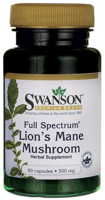 Swanson Premium Full-Spectrum Lion's Mane Mushroom 500mg 60 Capsules
