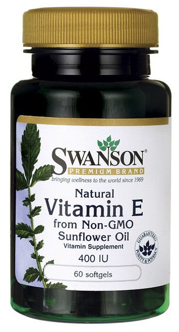 Swanson Premium Natural Vitamin E from Non-GMO Sunflower Oil 400IU 60 Softgels