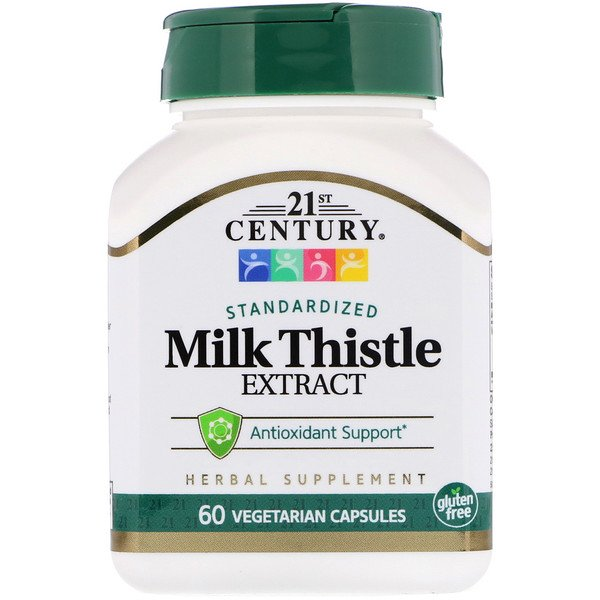 21st Century, Milk Thistle Extract, Standardized, 60 Vegetarian Capsules