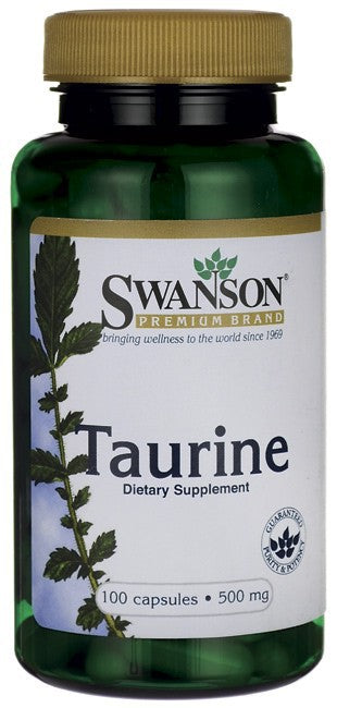 Swanson Premium Taurine 500mg 100 Capsules - Dietary Supplement