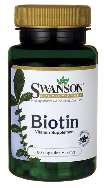 Swanson Biotin 5mg 100 Capsules - Vitamin Supplement