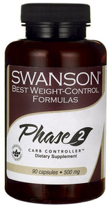 Swanson Best Weight-Control Formulas Phase 2 Carb Controller White Kidney Bean Extract 500mg 90 Capsules