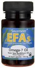 Load image into Gallery viewer, Swanson EFAs Omega-7 Oil From Sea Buckthorn Oil 450mg 30 Liquid Caps