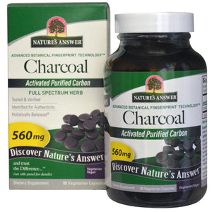 Nature's Answer - Charcoal Acivated Purified Carbon 560mg 90 Capsules