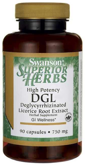 Swanson Superior Herbs High Potency DGL Deglycyrrhizinated Licorice Root Sugarless 750mg 90 Capsules