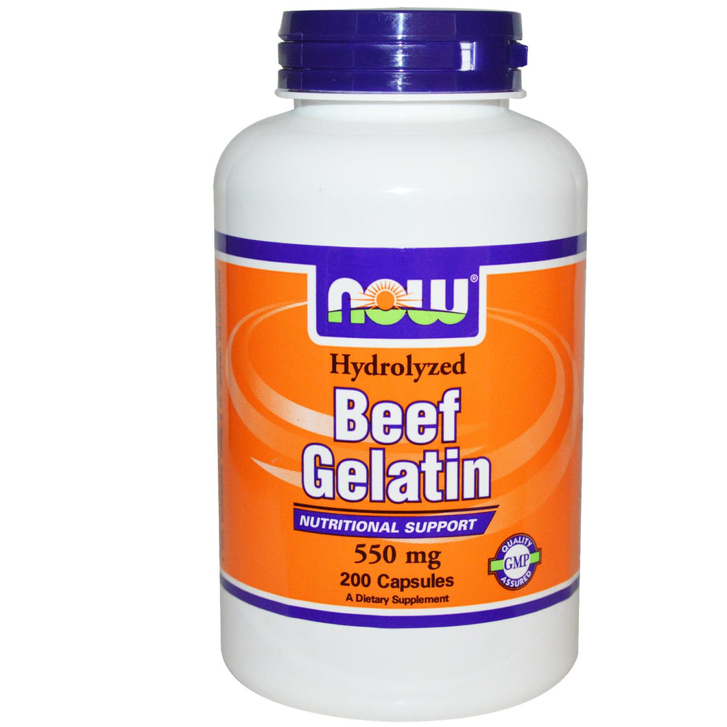Now Foods Beef Gelatin 550mg 200 Capsules - Dietary Supplement