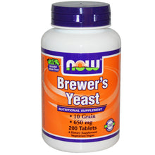 Load image into Gallery viewer, Now Foods, Brewer's Yeast, 650mg, 200 Tablets