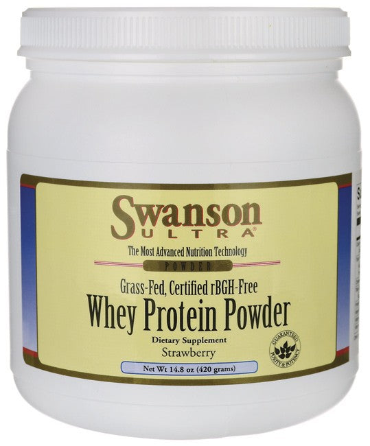 Swanson Ultra Grass-Fed Certified rBGH-Free Strawberry Whey Protein Powder 420gm