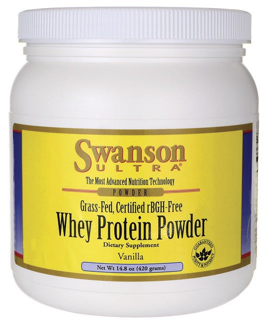 Swanson UItra Grass-Fed Certified rBGH-Free Vanilla Whey Protein Powder 420gm