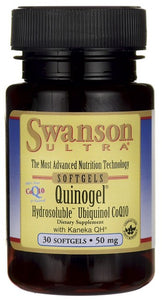 Swanson Ultra Quinogel (Hydrosoluble Ubiquinol CoQ10) 50mg 30 Softgels