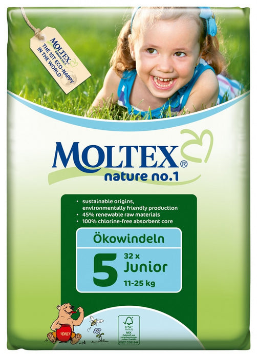 Moltex Nature no.1, Junior Nappies, 3-25 Kg, Single Pack, 32 Nappies