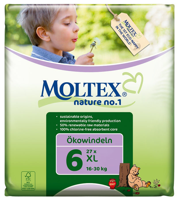 Moltex Nature no.1, XL Nappies, 16-30 Kg, Single Pack, 27 Nappies