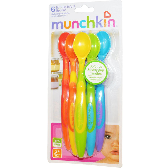 Munchkin, Soft-Tipped Infant Spoons, 3 + Months, Six Pack