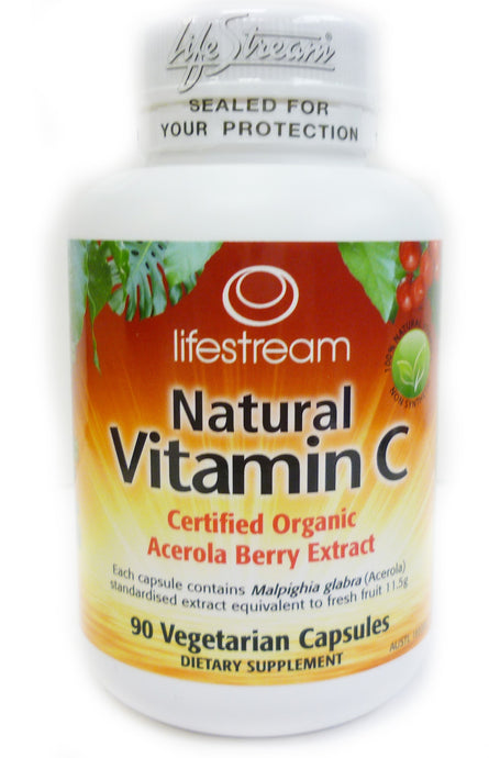 Lifestream, Natural Vitamin C, Acerola Berry Extract, Certified Organic, 90 Vcaps