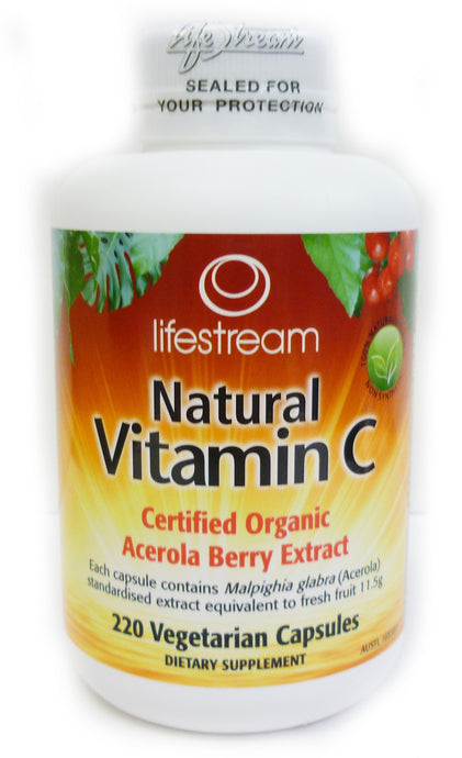 Lifestream, Natural Vitamin C, Certified Organic, Acerola Berry Extract, 220 Vcaps