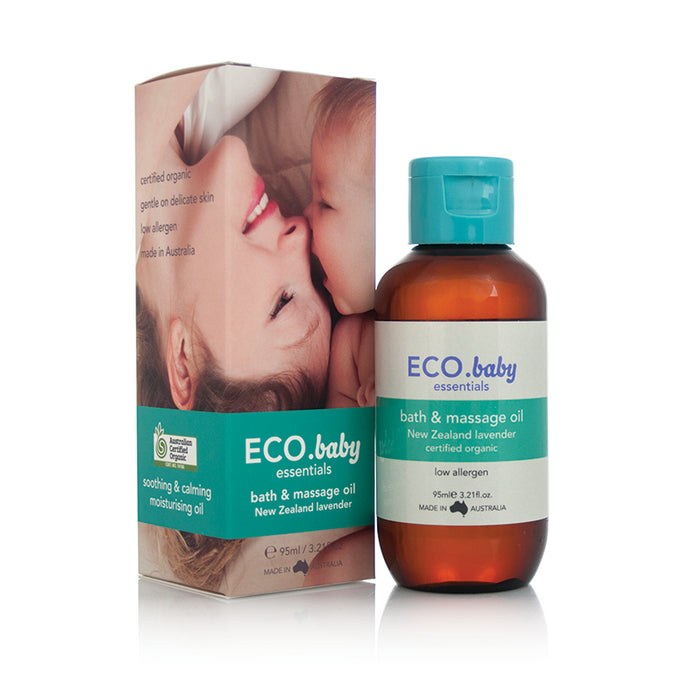 ECO., Baby Essentials, Baby Bath & Massage Oil, Certified Organic, New Zealand Lavender, 95 ml