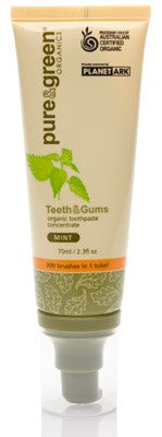 Pure & Green, Teeth & Gums, Toothpaste, Australian Certified Organic, Concentrate, Mint, 70 ml