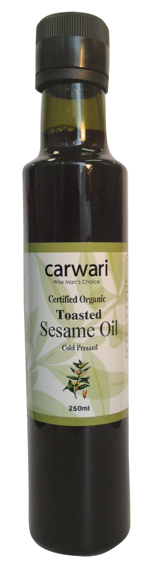 Carwari, Toasted Sesame Oil, Organic, Cold Pressed, 250 ml
